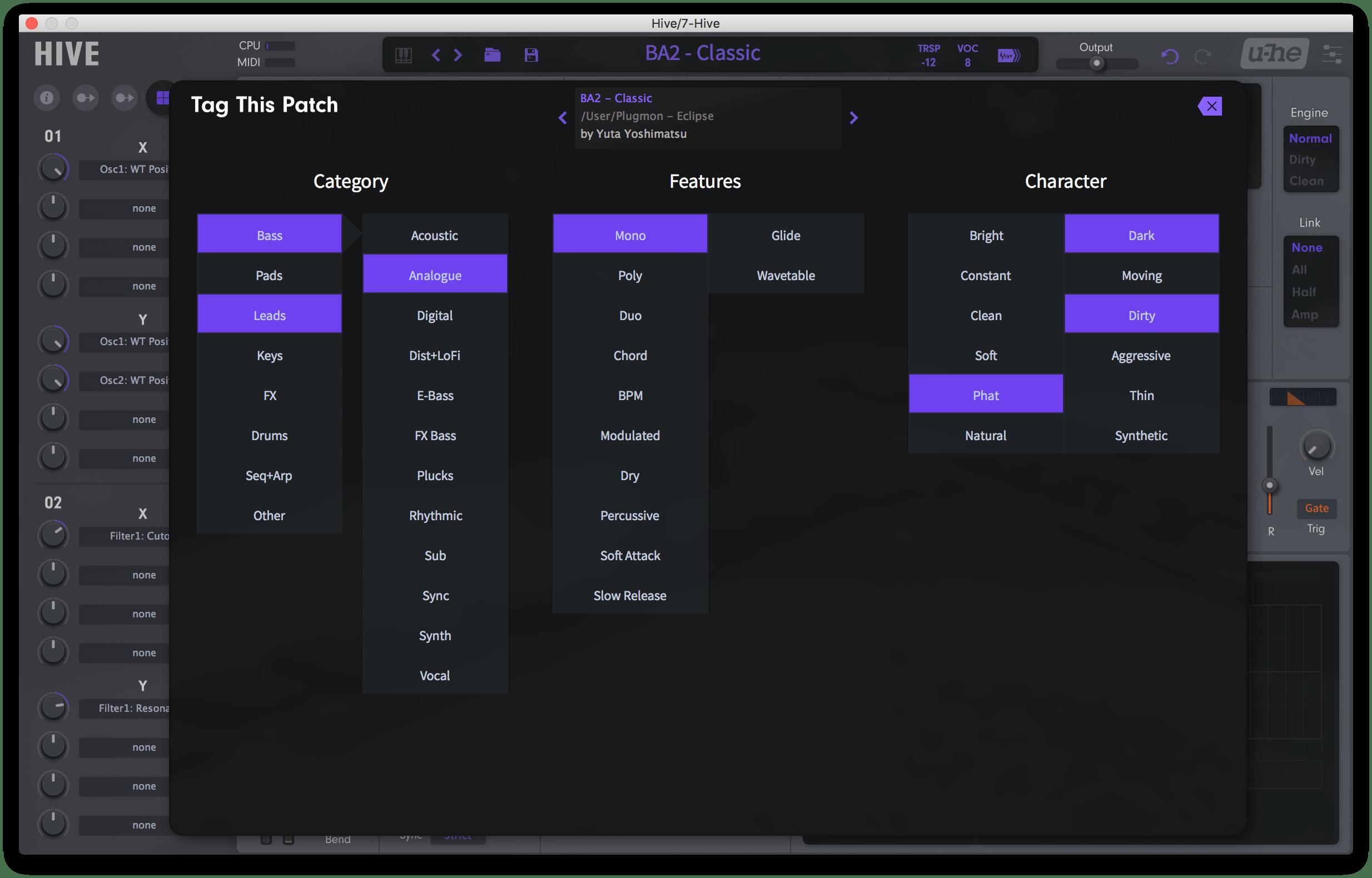 REQ: Plugmon Eclipse Skin + Presets for u-he HIVE screenshot